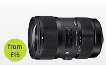 Sigma f/1.8 18 to 35mm Lens hire